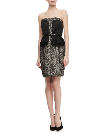 Strapless Belted Peplum Lace Dress