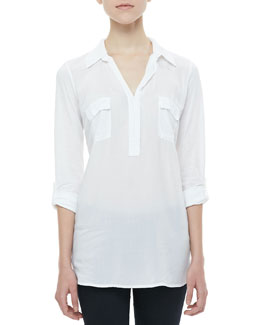 Splendid Tab-Sleeve Shirt Tunic, White