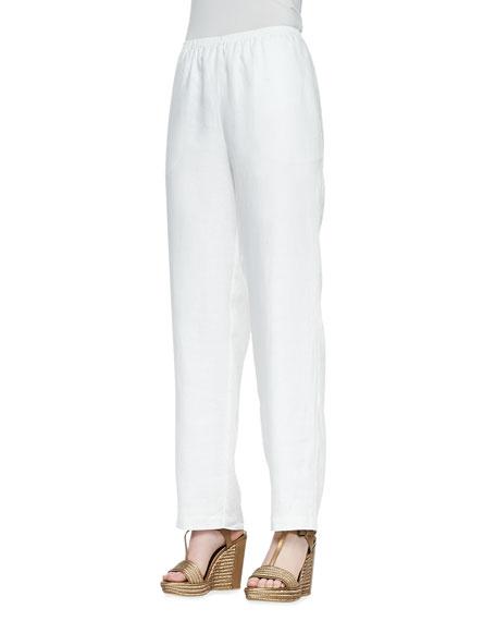 Straight-Leg Linen Pants, Black