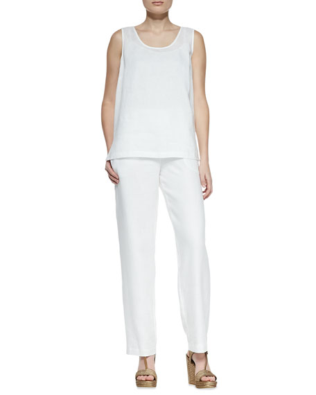 Straight-Leg Linen Pants, White, Petite