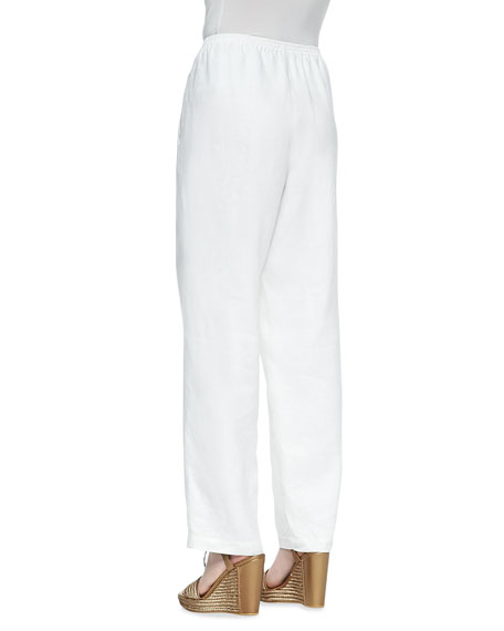 White Straight-Leg Linen Pants, Women's