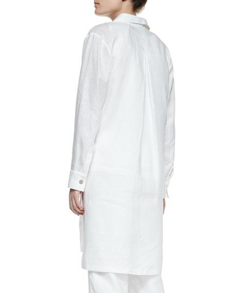 Long-Sleeve Linen Duster, Petite