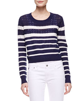 Soft Joie Billy Striped Cropped Sweater