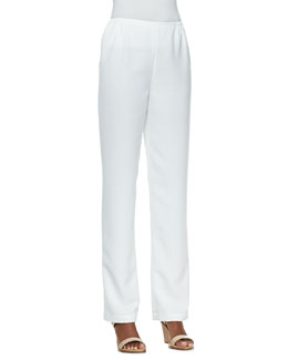 Caroline Rose Shantung Straight-Leg Pants, Women's