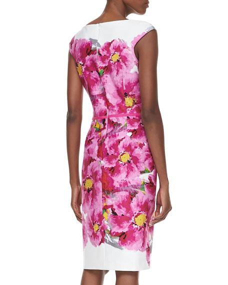 Cap-Sleeve Floral-Print Dress