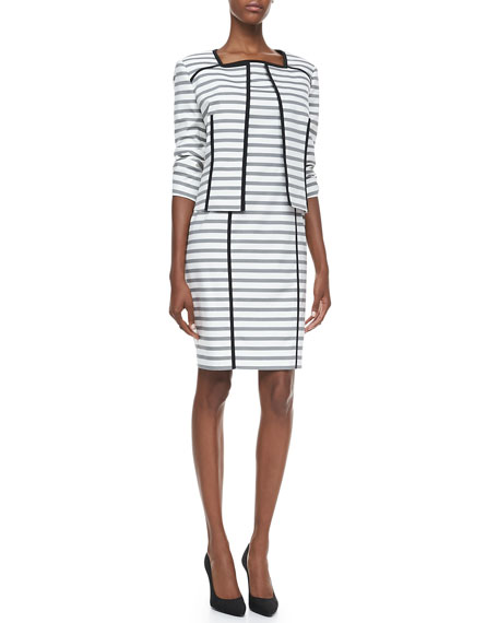 Striped Jacket & Sheath Dress