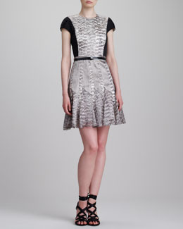 Jason Wu Cap-Sleeve Snake-Print Combo Dress