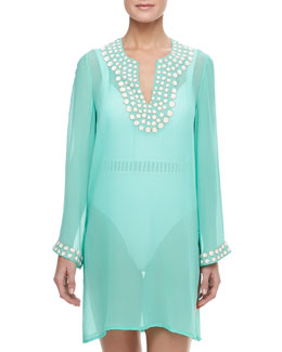 Flora Bella Sheer Embellished Neck & Cuff Coverup Tunic, Sea Green