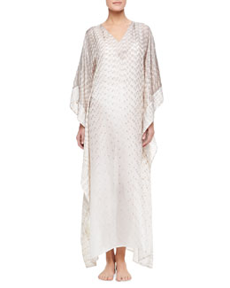 Flora Bella Anantara Long Silk Habutai Coverup Caftan, Pechino