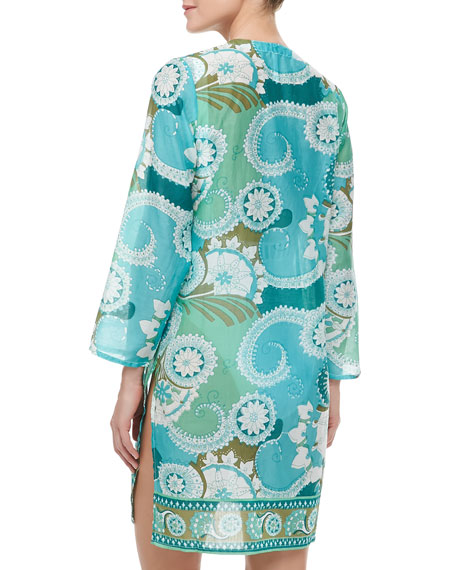 Aston Sheer Beaded Print Coverup Tunic, Multicolor Jade