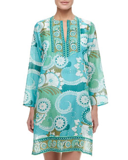 Flora Bella Aston Sheer Beaded Print Coverup Tunic, Multicolor Jade