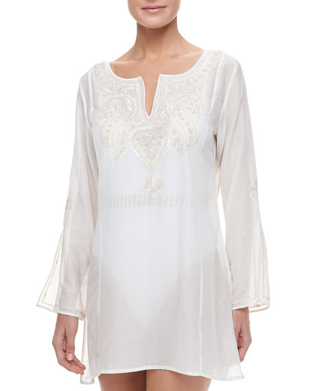 Bahia Embroidered Front Slit-Sleeve Coverup Tunic, White