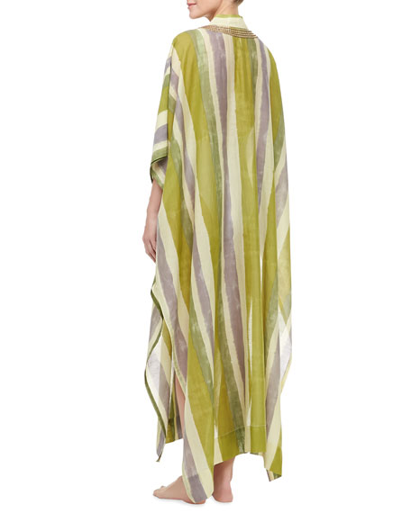 Mirage Striped Embellished Neck Long Coverup Caftan, Multicolor