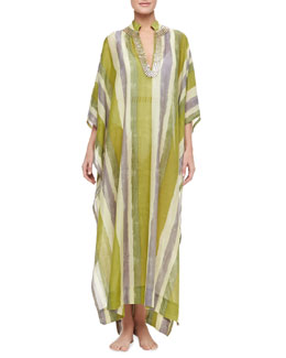 Flora Bella Mirage Striped Embellished Neck Long Coverup Caftan, Multicolor