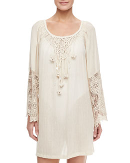 Flora Bella Montage Gauze Lace Sleeve Short Coverup Caftan, Bisque