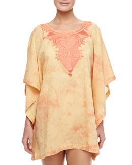 Flora Bella Short Embroidered-Neck Coverup Caftan, Sherbet