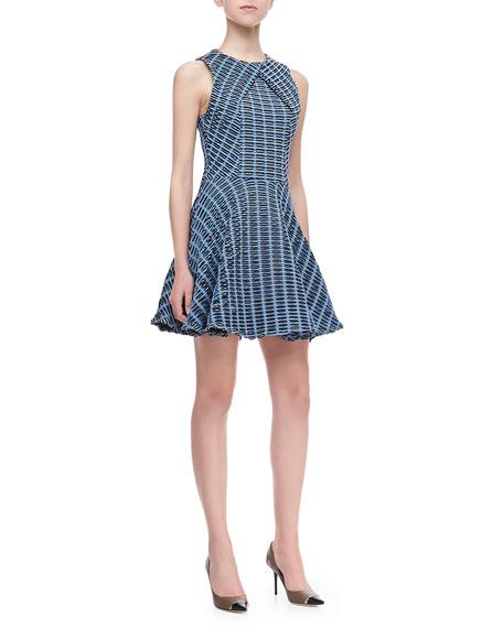 Wavy Cross-Panel Dress, Multicolor