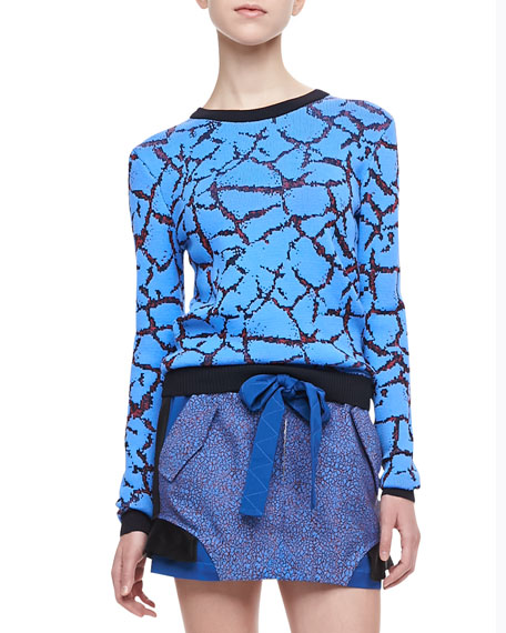 Crackled Jacquard Crew Sweater
