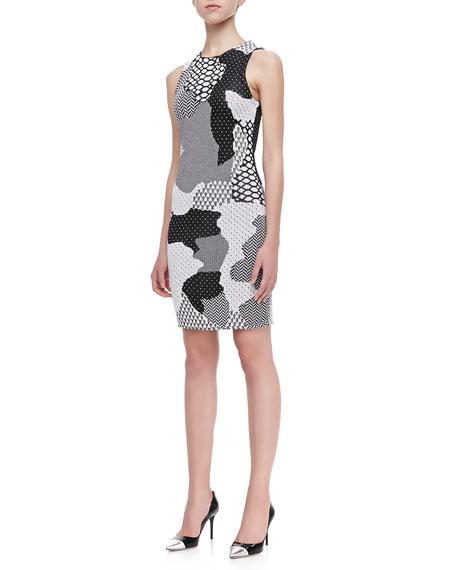 Sleeveless Abstract Print Dress, Black/White