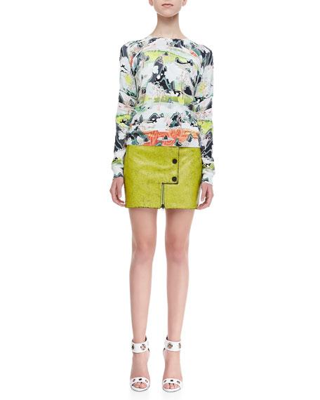 Crackled Leather Snap Miniskirt