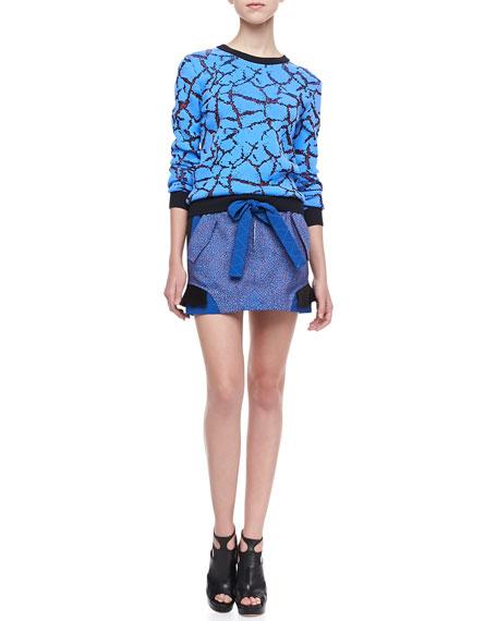 Rock Jacquard Cargo Skirt, Peony Blue