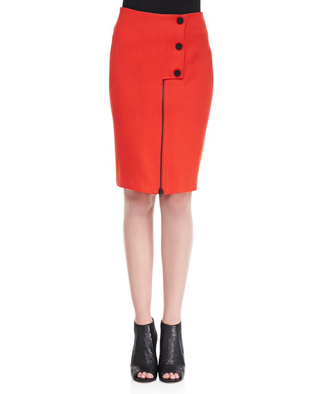 Lee Snap-Front Pencil Skirt, Tiger Red