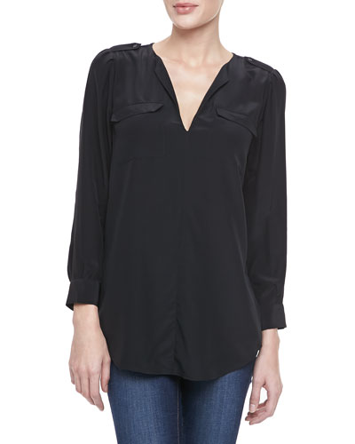 Joie Marlo Two-Pocket Blouse, Caviar