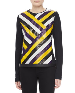 Jason Wu Eel-Skin Long-Sleeve Jersey Tee