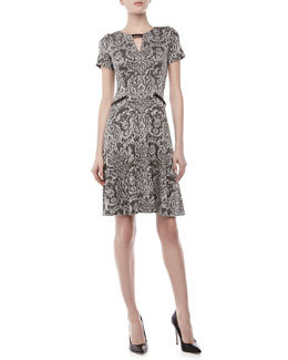 Yoana Baraschi Printed Keyhole Fit-and-Flare Dress