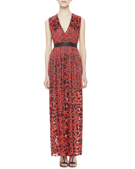 Fayeth Printed Leather-Waist Maxi Dress