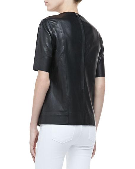 Clark Short-Sleeve Leather Top