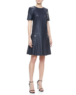 J Brand Ready to Wear Lowe Short-Sleeve Leather Dress
