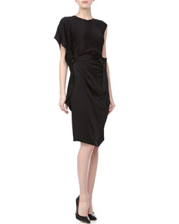 Lafayette 148 New York Talulah Pleated-Front Belted Dress, Black