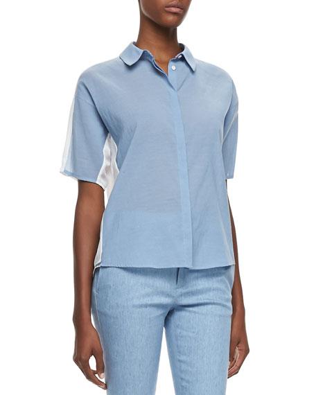Hay Denim Voile Short-Sleeve Blouse