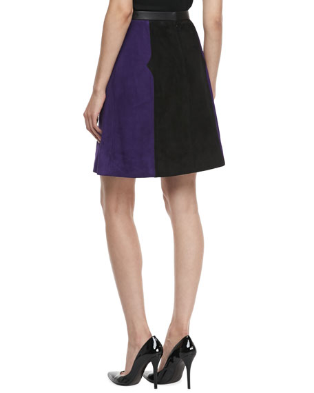 Colorblock Suede A-line Skirt, Violet/Black