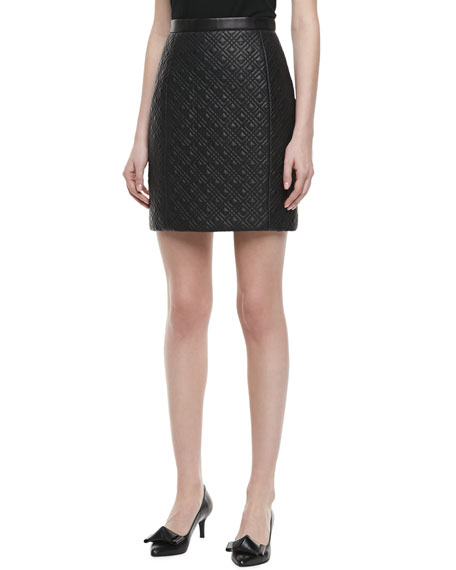 Quilted Leather Pencil Skirt, Black