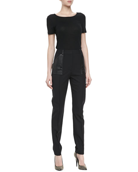 Faux Leather Patch Pocket Stovepipe Pants, Black