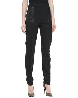 Jason Wu Faux Leather Patch Pocket Stovepipe Pants, Black
