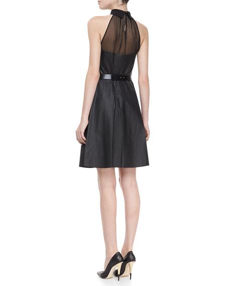 Leather Halter Dress with Belt, Black