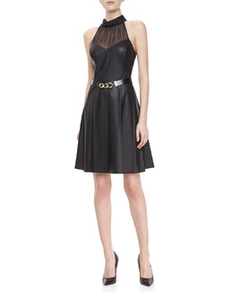 Jason Wu Leather Halter Dress with Belt, Black