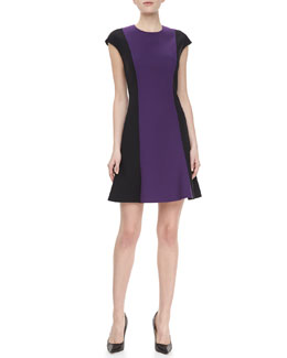 Jason Wu Cap Sleeve Flared Hem Dress, Violet/Black