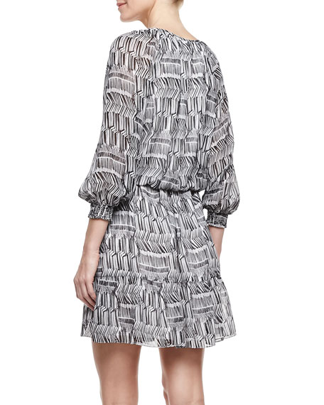 3/4-Sleeve Printed Peasant Dress