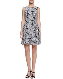 Shoshanna Sleeveless Lace Fit-and-Flare Dress