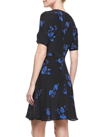 Floral-Print Half-Sleeve Silk Dress
