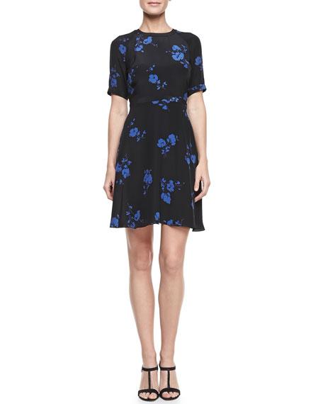 Floral-Print Half-Sleeve Silk Dress