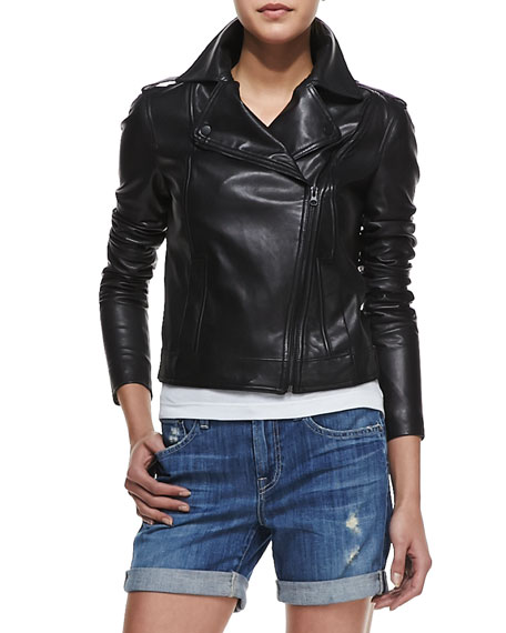 Smooth Leather Motorcycle Jacket, Black