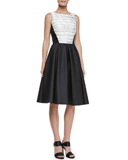 Carmen Marc Valvo Woven-Bodice Combo Party Dress