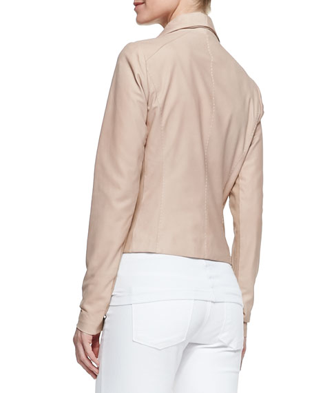 Leather Scuba Shawl-Collar Jacket, Blush