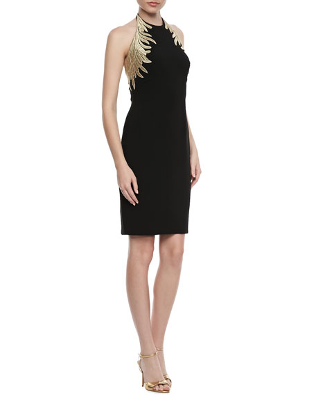 Embroidered Halter Cocktail Dress, Black/Gold