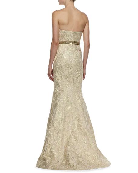 Strapless Brocade Peplum Gown